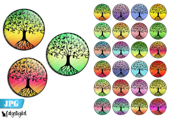 Print on Demand: Tree of Life Bottle Cap Images Graphic Crafts By CatgoDigital