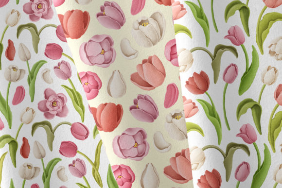 Print on Demand: Tulip Flowers Patterns Borders Graphic Illustrations By Architekt_AT - Image 3