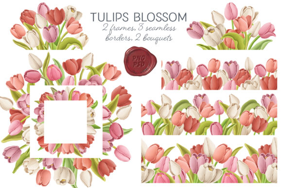 Tulip Flowers Patterns Borders Graphic By Architekt At