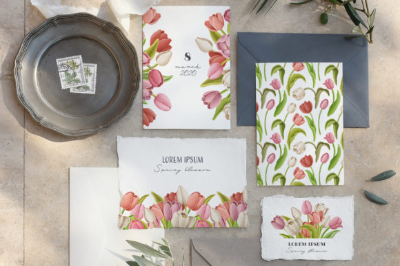 Print on Demand: Tulip Flowers Patterns Borders Graphic Illustrations By Architekt_AT - Image 8
