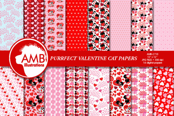 Valentine Cats Patterns Graphic Patterns By AMBillustrations