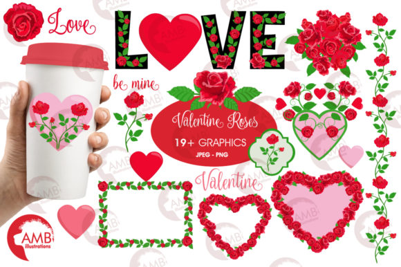 Valentine Roses Clipart Graphic Illustrations By AMBillustrations