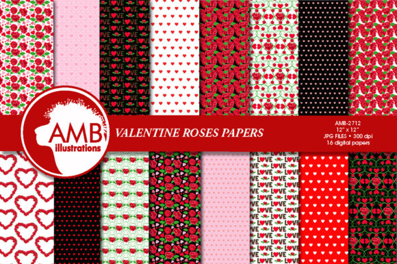 Valentine Roses Patterns Graphic Patterns By AMBillustrations