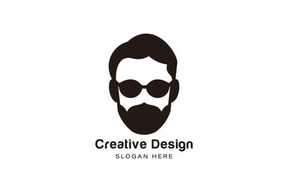 Download Free Bearded Man Using Sunglass Logo Ideas I Graphic By for Cricut Explore, Silhouette and other cutting machines.