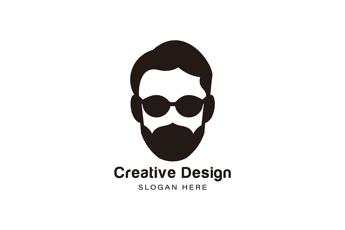 Download Free Bearded Man Using Sunglass Logo Ideas I Grafico Por for Cricut Explore, Silhouette and other cutting machines.