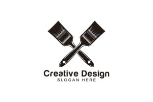 Print on Demand: Crossed Paint Brushes Logo Ideas. Inspir Graphic Logos By WANGS
