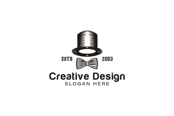 Download Free Hat Magician And Tie Logo Ideas Inspira Graphic By for Cricut Explore, Silhouette and other cutting machines.