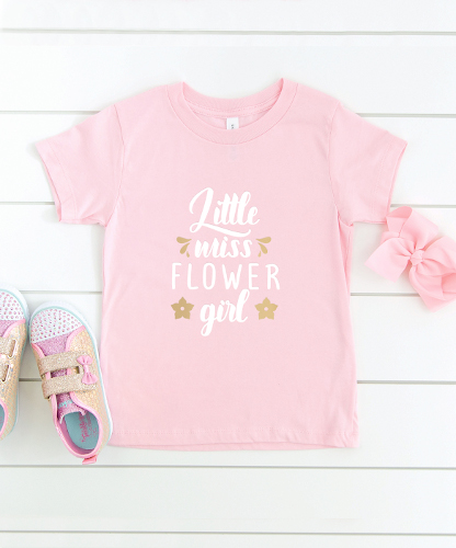 pink t shirt with flower girl quote