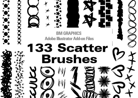 Print on Demand: 133 Adobe Illustrator Scatter Brushes Grafik Pinselstriche von GraphicsBam Fonts