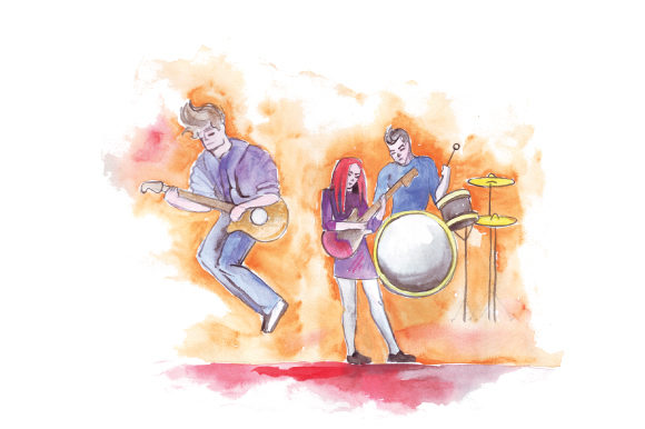 Download Free Rock Band Performing In Watercolor Svg Cut File By Creative for Cricut Explore, Silhouette and other cutting machines.