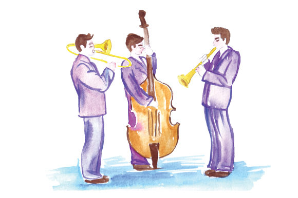 Jazz Band Performing Watercolor Music Craft Cut File By Creative Fabrica Crafts