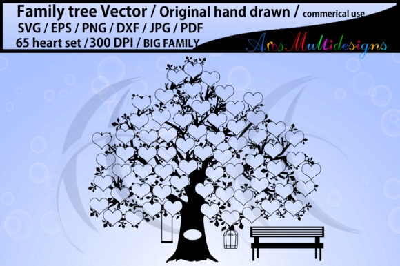 Print on Demand: 65 Hearts Family Tree Graphic Illustrations By Arcs Multidesigns