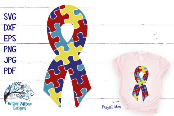 Download Free Autism Puzzle Ribbon Graphic By Wispywillowdesigns Creative for Cricut Explore, Silhouette and other cutting machines.