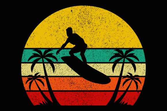 Print on Demand: Beach Retro Sunset Surfer Palm Clipart Graphic Illustrations By SunandMoon