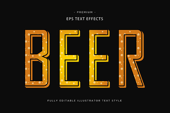 Print on Demand: Beer 3d Text Style Effect Vector Graphic Graphic Templates By Riduwan Molla