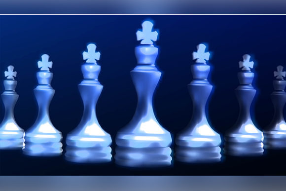 Print on Demand: Blue White Chess King. Become a Leader. Graphic Backgrounds By ojosujono96