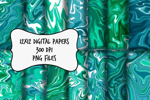 Print on Demand: Blue and Green Marble Digital Paper Graphic Backgrounds By RoughDraftDesign