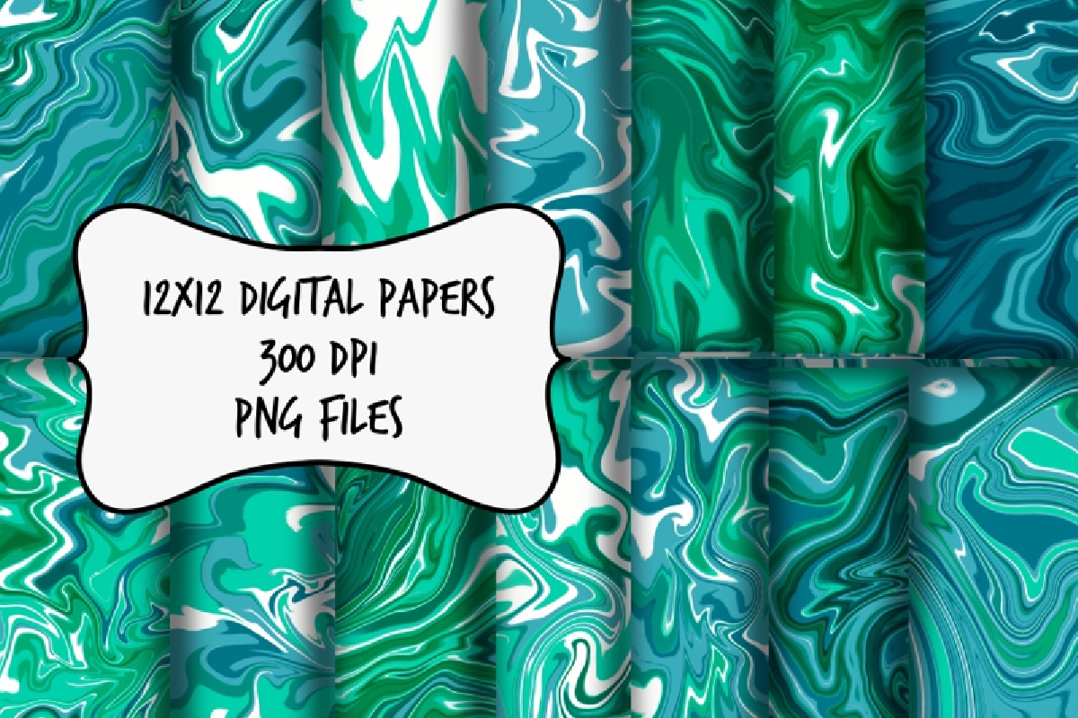 Blue And Green Marble Digital Paper Graphic By