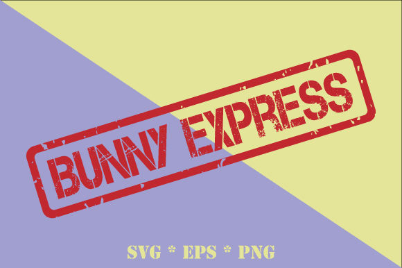 Download Free Bunny Express Rubber Stamp Easter Graphic By Graphicsfarm for Cricut Explore, Silhouette and other cutting machines.