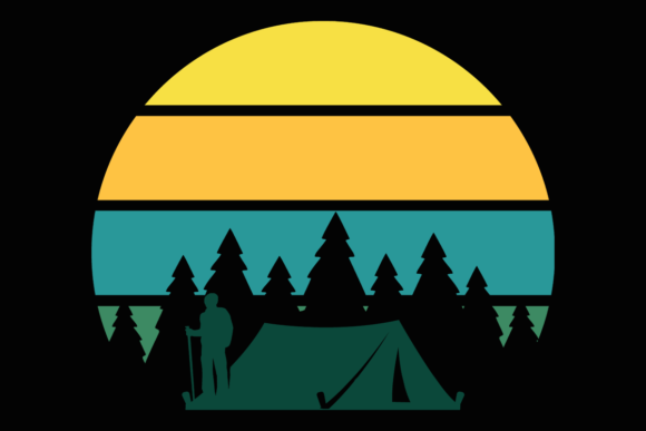 Print on Demand: Camping Tent Trees Retro Sunset Clipart Graphic Illustrations By SunandMoon