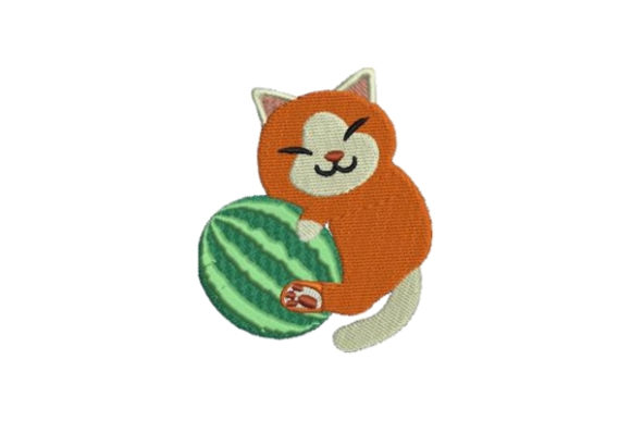 Cat Hugging Watermelon Cats Embroidery Design By Embroidery Designs - Image 1