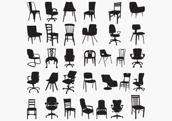 Download Free Chair Silhouettes Graphic By Octopusgraphic Creative Fabrica for Cricut Explore, Silhouette and other cutting machines.