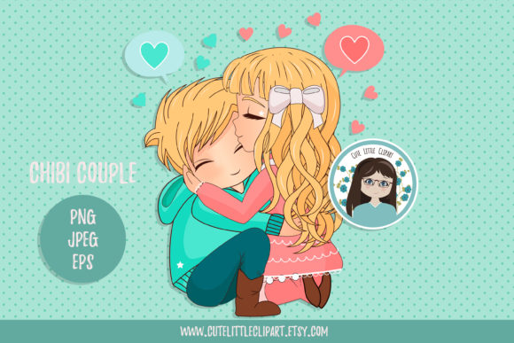 Chibi Couple Graphic Illustrations By CuteLittleClipart