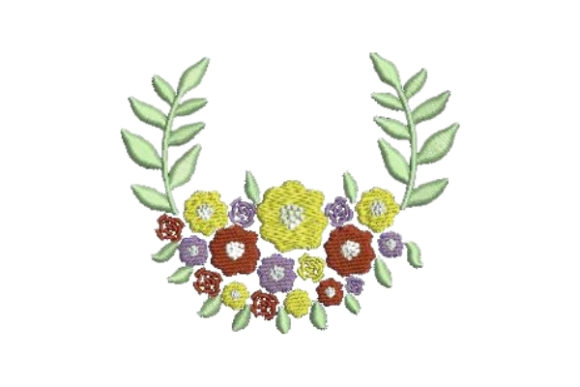 Colorful Flower Wreath Floral Wreaths Embroidery Design By Embroidery Designs - Image 1