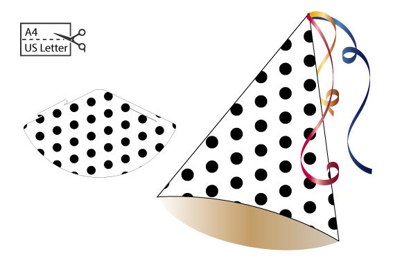 Download Free Diy Small Party Hat Black Dots Grafico Por Graphics Farm for Cricut Explore, Silhouette and other cutting machines.