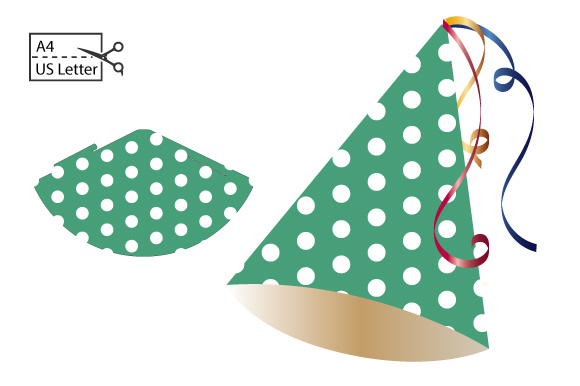 Diy Small Party Hat White Dots Graphic By Graphics Farm