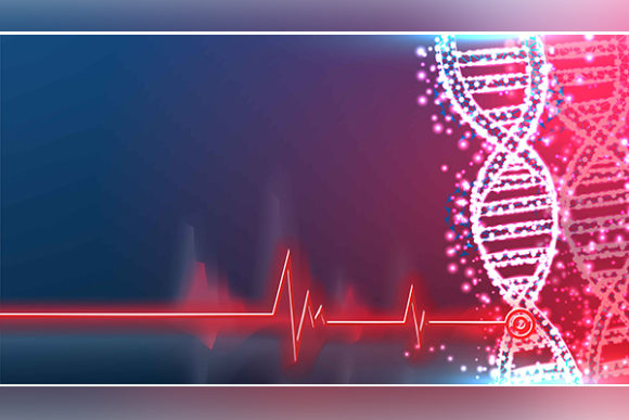 Print on Demand: DNA Molecule Helix Spiral on Blue. Medic Graphic Backgrounds By ojosujono96