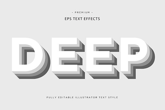 Print on Demand: Deep 3d Text Effect Vector Graphic Graphic Templates By Riduwan Molla