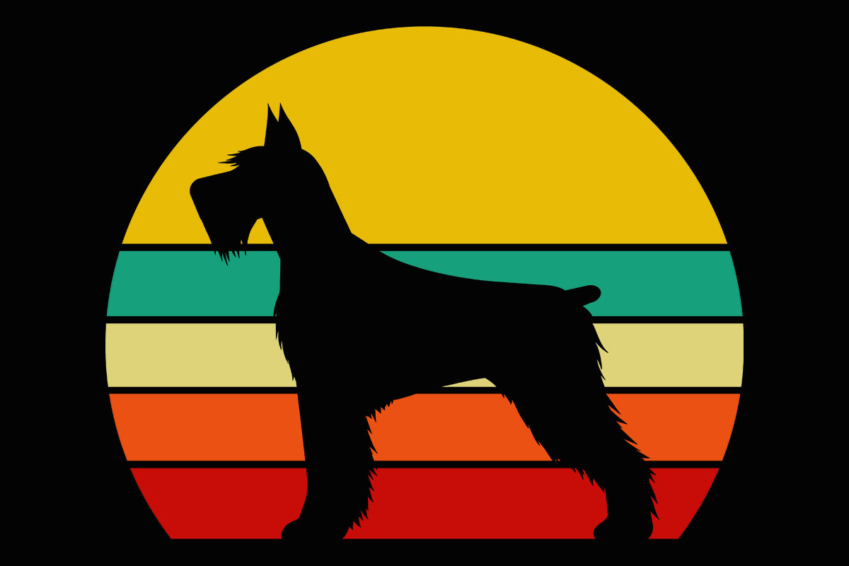 Download Free Dog Retro Sunset Schnauzer Clipart Graphic By Sunandmoon Creative Fabrica for Cricut Explore, Silhouette and other cutting machines.