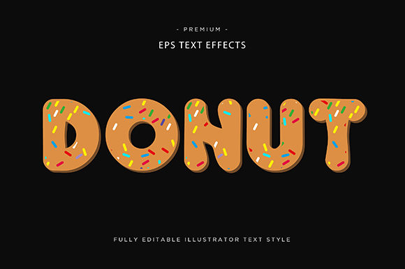 Print on Demand: Donut 3d Text Effect Vector Graphic Graphic Templates By Riduwan Molla