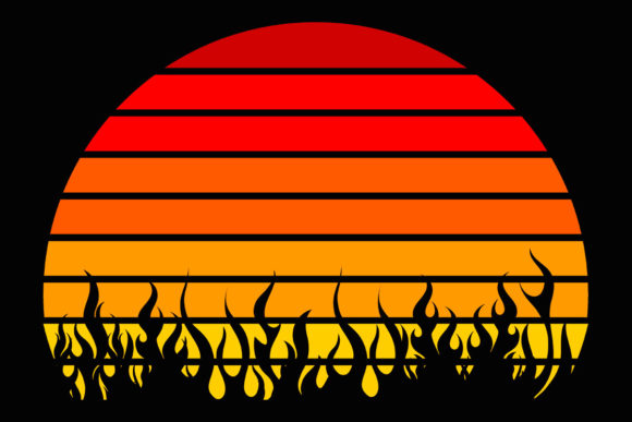 Fire Flames Retro Vintage Sunset Clipart (Graphic) by ...