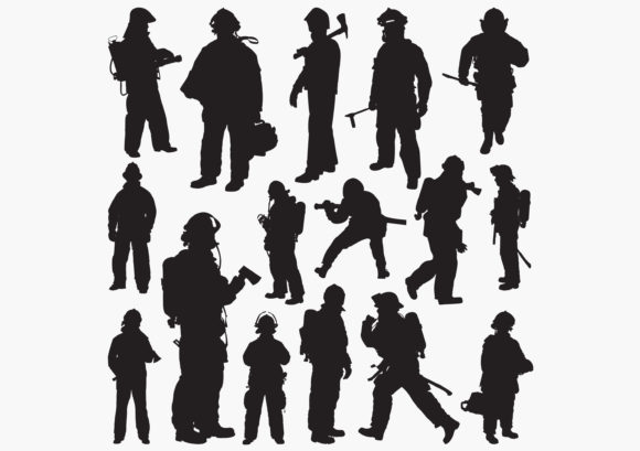 Fireman Silhouettes Graphic Crafts By octopusgraphic