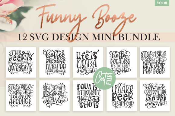 Print on Demand: Funny Booze SVG Bundle Vol 1 Gráfico Crafts Por DesignFarm