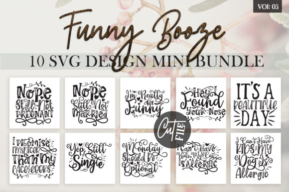 Print on Demand: Funny Booze Bundle Vol 3 Graphic Crafts By DesignFarm