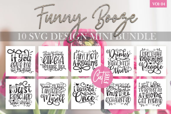 Print on Demand: Funny Booze Bundle Vol 4 Graphic Crafts By DesignFarm