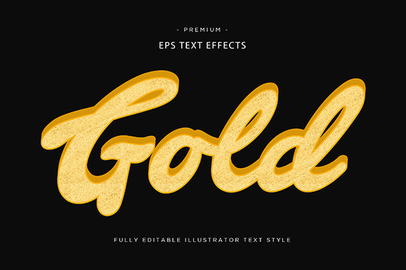 Print on Demand: Gold 3d Text Effect Vector Graphic Graphic Templates By Riduwan Molla
