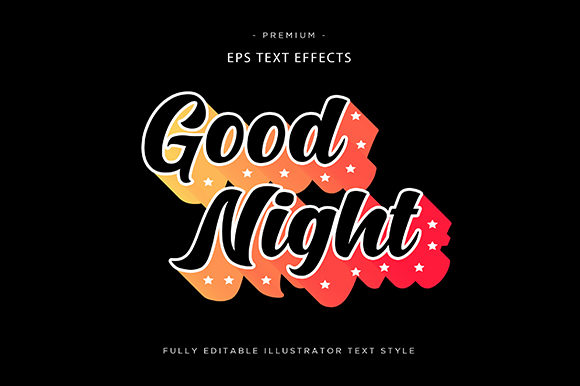 Download Free Good Night 3d Text Effect Vector Graphic By Riduwan Molla for Cricut Explore, Silhouette and other cutting machines.