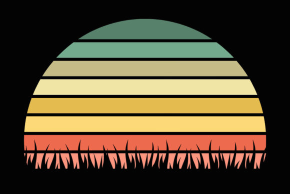 Print on Demand: Grass Wavy Retro Vintage Sunset Clipart Graphic Illustrations By SunandMoon