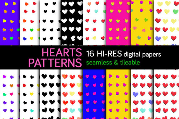 Print on Demand: Hearts Designs, Digital Papers & Pattern Graphic Patterns By Milaski