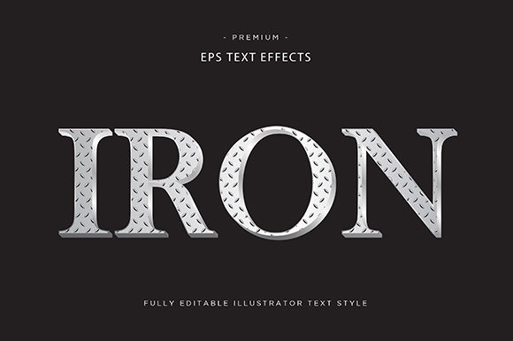 Print on Demand: Iron 3d Text Effect Vector Graphic Graphic Templates By Riduwan Molla