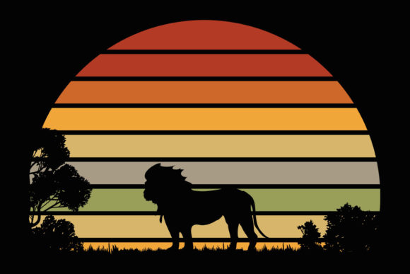 Print on Demand: Lion African Landscape Retro Sun Clipart Graphic Illustrations By SunandMoon