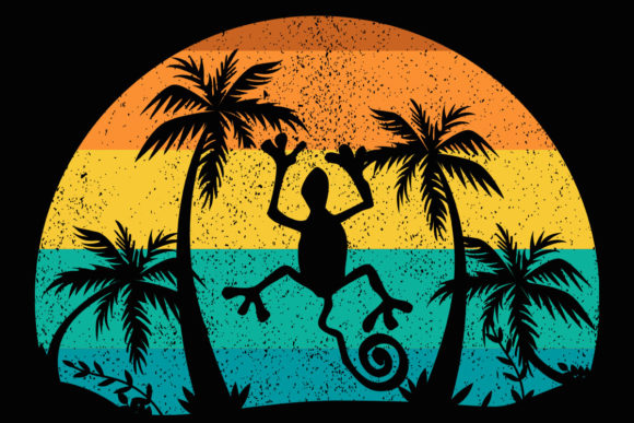 Print on Demand: Lizard Palm Trees Beach Retro Sunset Graphic Illustrations By SunandMoon