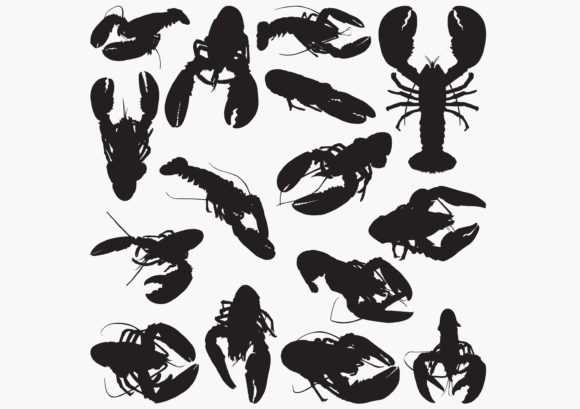 Lobster Silhouettes Graphic Crafts By octopusgraphic