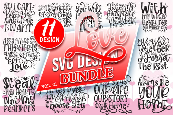Print on Demand: Love SVG Design Bundle Vol: 1 Graphic Crafts By DesignFarm