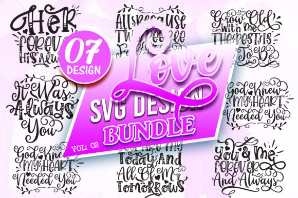 Print on Demand: Love SVG Design Bundle Vol: 2 Graphic Crafts By DesignFarm