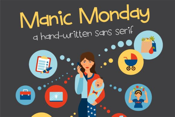 Print on Demand: Manic Monday Sans Serif Font By Illustration Ink